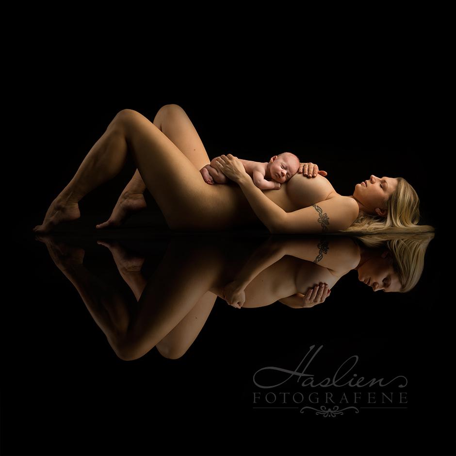 Gravidfoto mix. Her er mor avibildet før og etter graviditet.