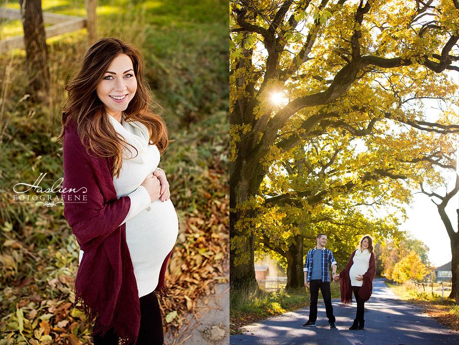 Gravidfoto ute på høsten.